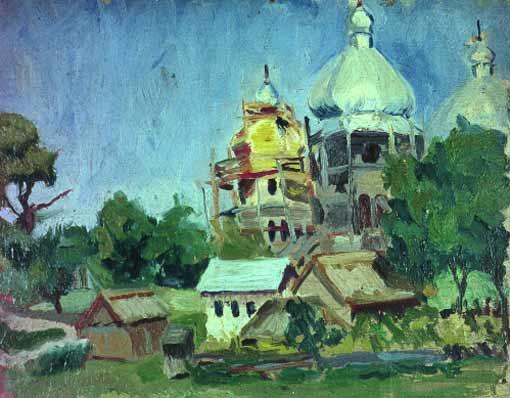 Stanisław Borysowski, Kościół w budowie, olej na desce, wymiary 25cm x 31cm