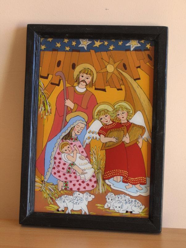 Danuta Styperek, malowidło na szkle, wymiary 30cm x 20cm